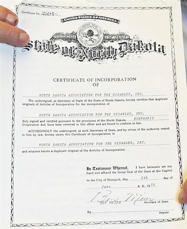 NDAD certificate of incorporation, 1975